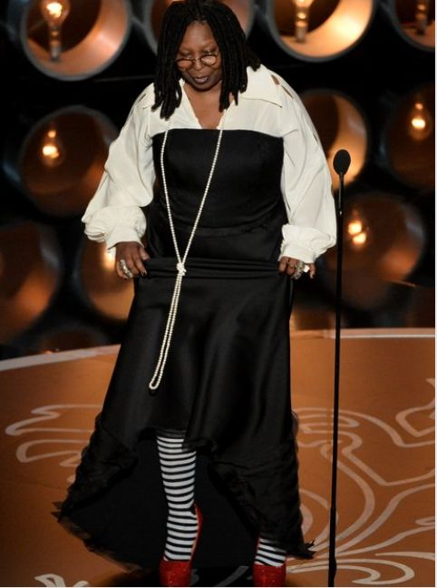 Whoopie Goldberg, Wicked Witch inspired shoes, Oscars 2014