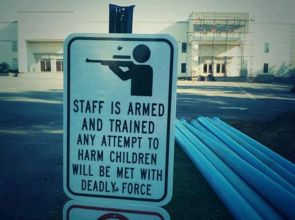 A private school in Central Arkansas recently voted to allow the staff to have guns on campus. This is the sign they put up.   (AMEN!!!!!!!!!!!!!!!!!!!)