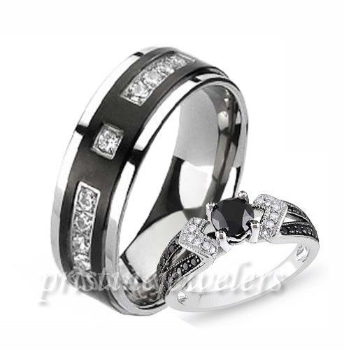 his hers 925 sterling silver womens wedding ring mens black titanium cz band - Womens Black Wedding Rings