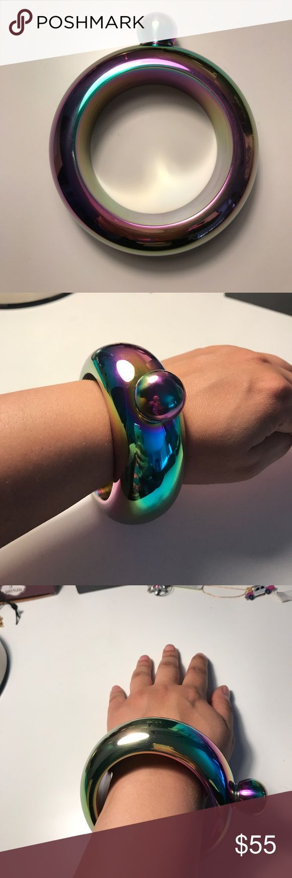 Rainbow Flask Bracelet with funnel Super cute rainbow metal flask bracelet. Funnel included. Holds 3oz of liquid ❗️New in Box❗️ Jewelry Bracelets