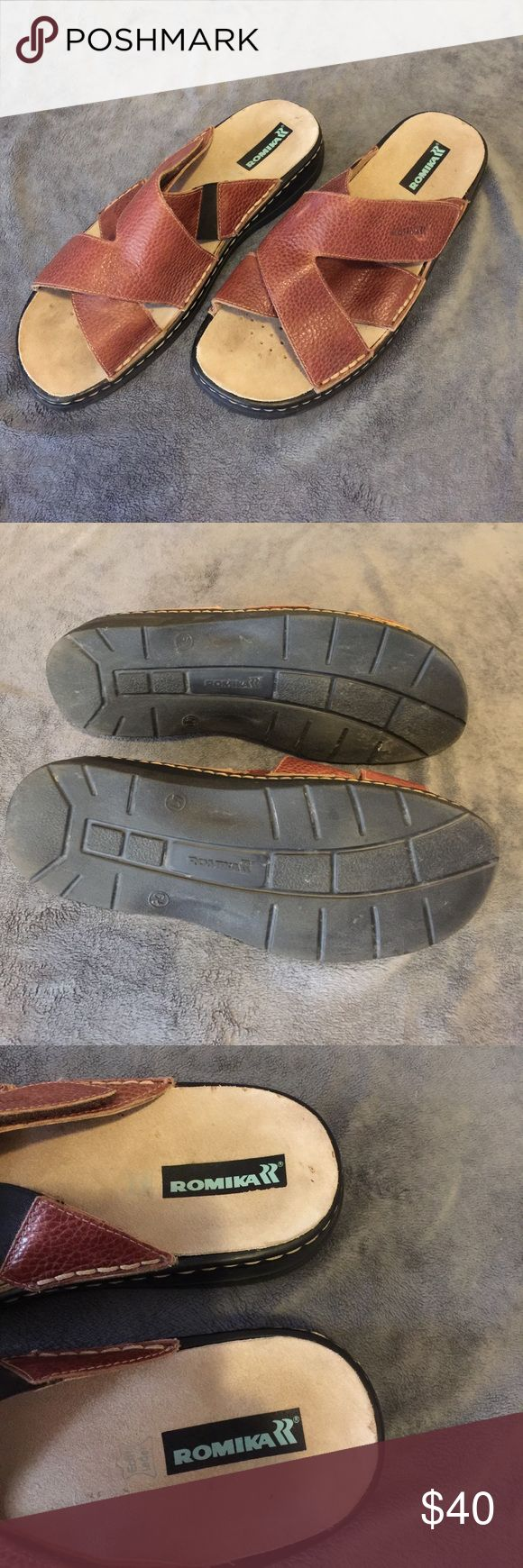 Romika men's Sandals. Size 47 ~ size men's 13 Great men's sandals leather foot pads and a good sole. Adjustable Velcro straps for a tight fit. Size 47 which is equal to a men's size 13 Romika Shoes Sandals & Flip-Flops