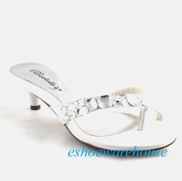 096109e2081 Dazzle Low Kitten Heel Rhinestone Thong Sandals White