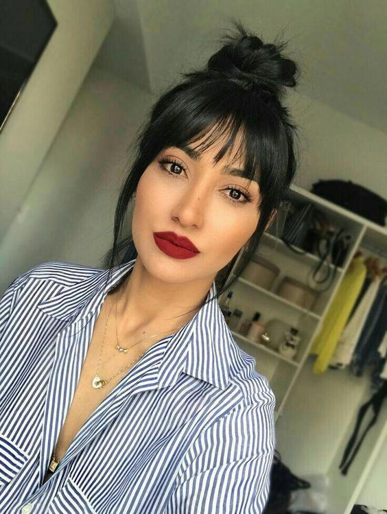 short hair with bangs 2019 For Women's