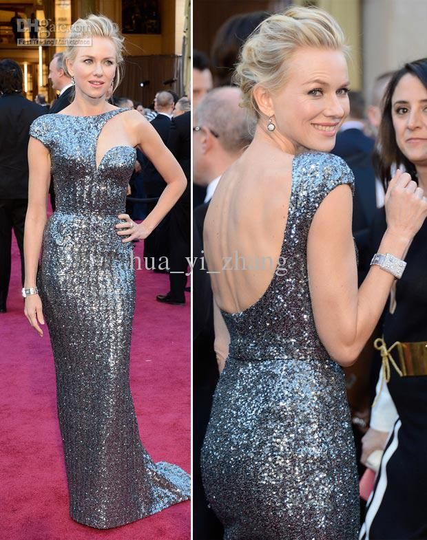 free shipping 2016 vestidos formales long Naomi Watts 85th Oscar Celebrity Dresses Red Carpet Gowns Metal Silver Best Dressed