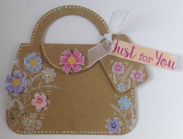 Kraft Handbags and Tags with white foiled designs. Card created by Julie Hickey.