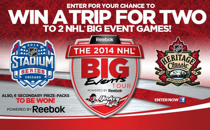 Would you like to attend 2 NHL Big Event Games?  Enter for your chance to WIN a trip for two to 2 NHL Big Event Games.  https://www.facebook.com/ProHockeyLife