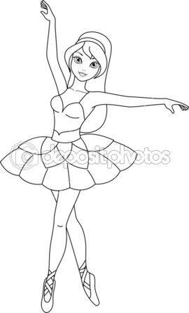 página de bailarina para colorir — Ilustração de Stock #43411489