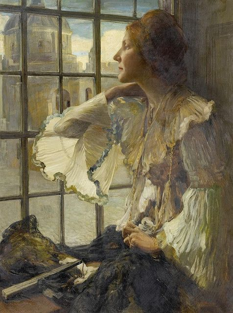 Robert Burns (1869-1941), Portrait of a lady at a window with a view of the Florence cathedral - vers 1906