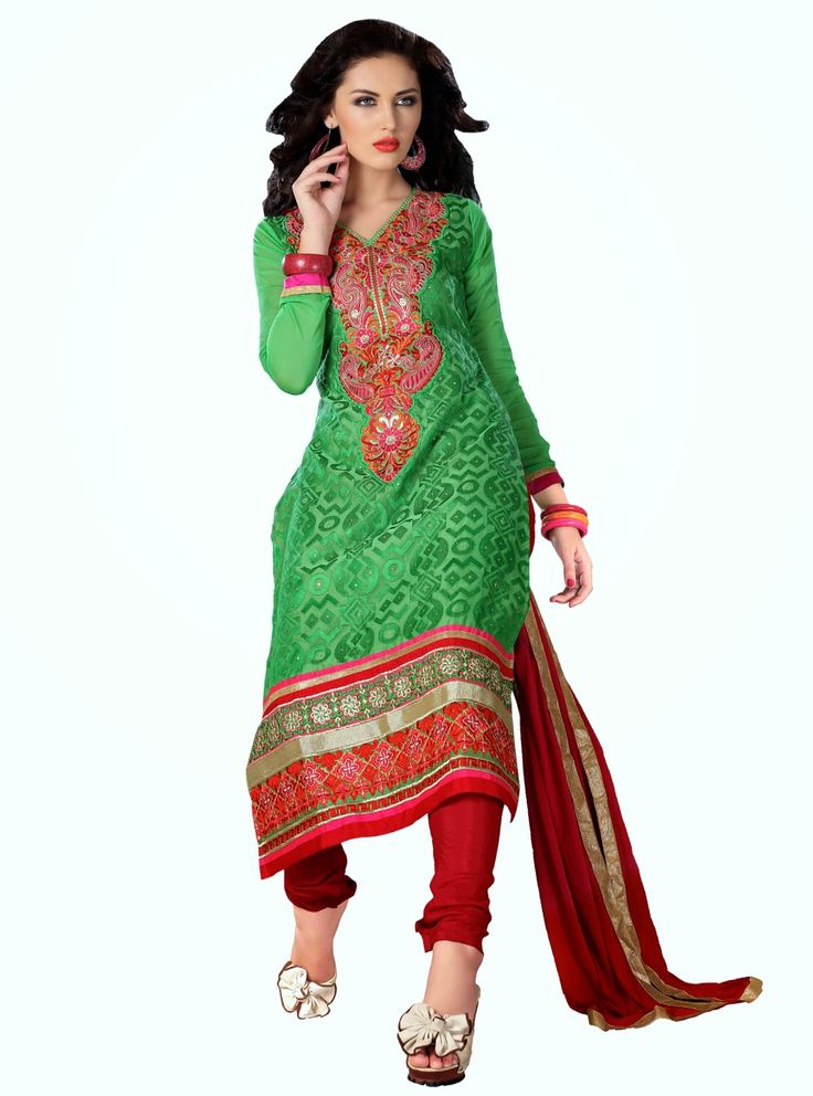 Party Wear Green and Red Heavily Embroidered Chanderi Cotton Suit. Comes along with Santoon Bottom and Viscose Dupatta.