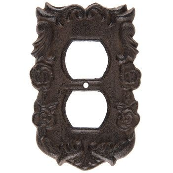 Rust Floral Swirl Cast Iron Outlet Plate