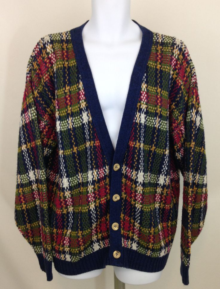 Vintage Men's Cardigan Sweater, Mens Oversized Plaid Cardigan, 90s V Neck Cardigan, Grandpa Sweater, Dominic & Maria Sweater Made in USA by UniqueTreasuresPA on Etsy