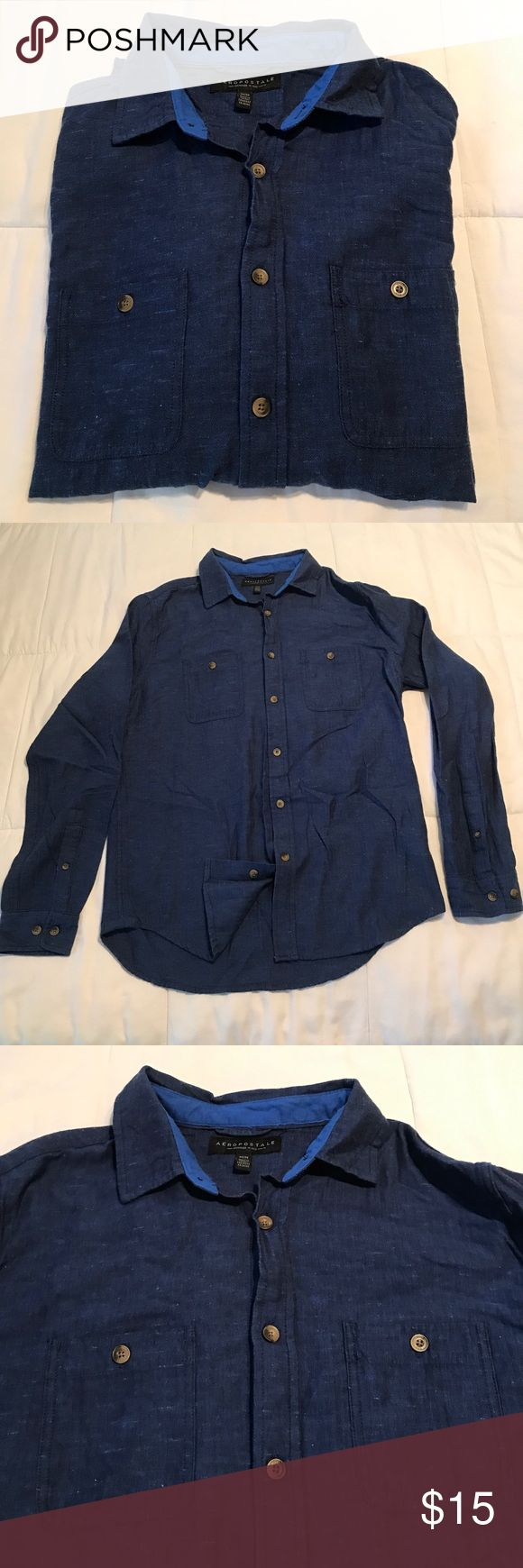 Aeropostale men's long sleeve dress up shirt Aeropostale men's long sleeve dress up shirt. EUC. Size M. With two pockets on the front. Navy Blue in color Aeropostale Shirts Dress Shirts
