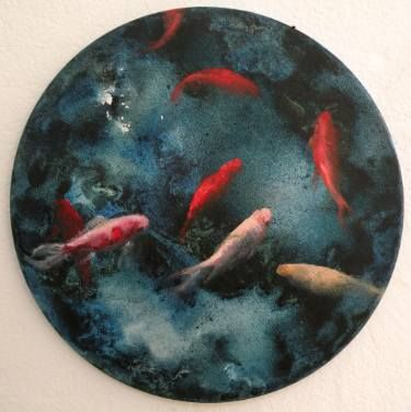 luna negra con puntos de luz 25cm diam., oil and acrylic on round canvas / 2016 #fineart #contemporary art #fishes #water #goldfishes