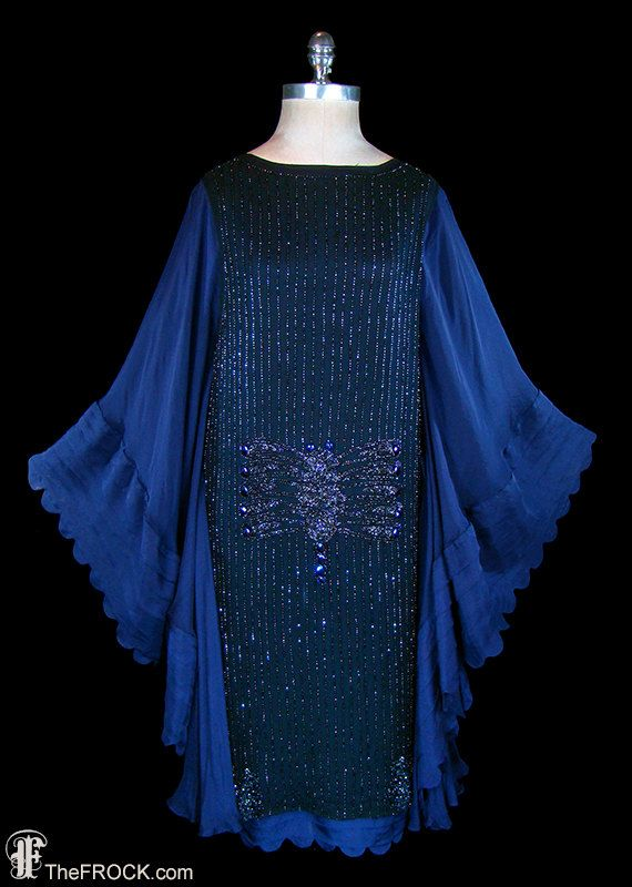 RESERVED 1920s flapper dress midnight blue silk. (View 1)