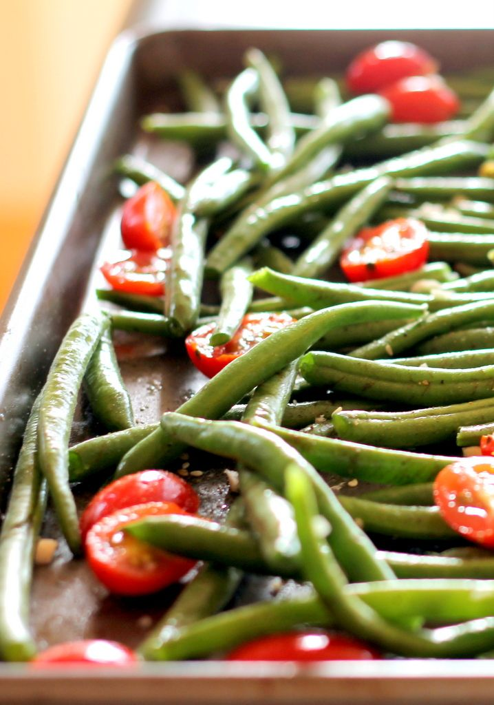 Roasted Garlic Parmesan Green Beans with Tomatoes. May do without the cheese.