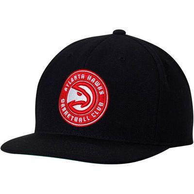 Men's Atlanta Hawks Mitchell & Ness Black Current Logo Wool Solid Adjustable Snapback Hat