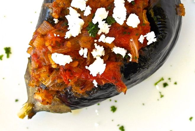 Mediterranean eggplant stuffed with fresh tomato and onion - Olive Tomato