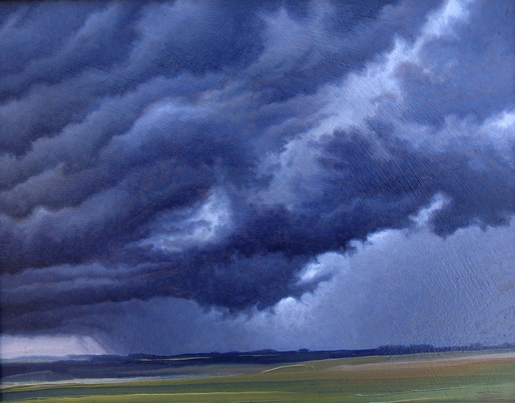 """Ravenweep"" by Jerry Moon Fine Art-Oil-Landscape-Painting-Kansas City, Missouri-Midwest-Sky-Clouds-Storm-Grey-Blue-Green-Dramatic-Rain"