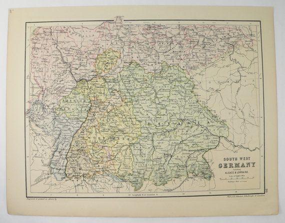 Vintage Germany Map Austria Hungary Map 1875 by OldMapsandPrints