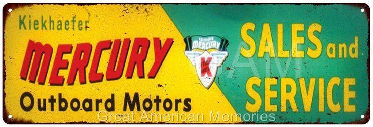 Mercury Outboard Motors Vintage Look Reproduction Metal 6x18 Sign 6180201