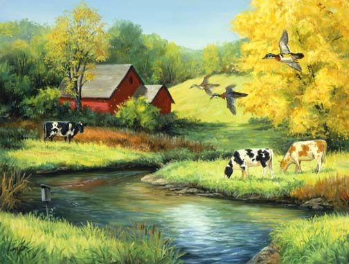 """Golden Days 2"" by Linda Picken. Born in Ohio, Linda Picken lives in Bentonville Arkansas. Her goal in painting is to show the interplay between different animal species. She was educated at Drake University in Des Moines and the Des Moines Art Center and has completed nearly thirty paintings that have become Ducks Unlimited prints."