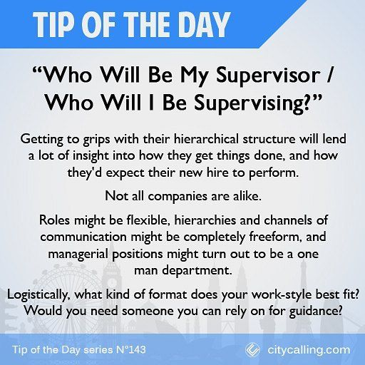 Questions to ask during your interview 14 Who Will Be My Supervisor? / Who Will I Be Supervising? #TipOfTheDay  #job #jobs #jobinterview #work #jobhunting #jobinterview #interview #jobapplication #newjob #inspiration #inspirational #careerpath #careers #career #callback #needajob #unemployedlife #helpmeimpoor #newjob #cv #resume #curriculumvitae #jobsearch #hiring #joboffer #jobneeded #lookingforajob #learningnewthings #success