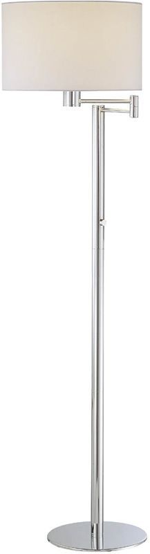 Lite Source LS-81606C/WHT 1 Light Swing Arm Floor Lamp with White Fabric Shade f Chrome Lamps Floor Lamps Swing Arm Lamps