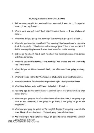 Questions and answers for Trinity Grade 4 GESE exam - ESL worksheets