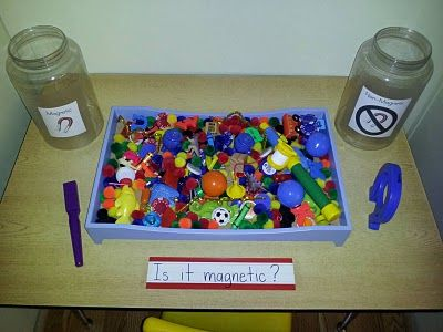 Put magnetic and non-magnetic items on a tray, add a magnet and then let children sort into two piles.  Great hands on science for a unit on magnets.