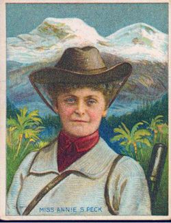 October 19, 1850: Born, Annie Smith Peck. An ardent feminist, Annie convinced her father to finance her higher education, and then abandoned teaching in favor of mountain climbing. She became quite well known, not so much for her exploits as for her dress -- she had the audacity to wear pants while climbing, at a time when women were being arrested for wearing trousers in public.
