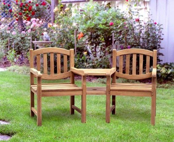 ascot teak garden companion seat bench garden tete a tete bench