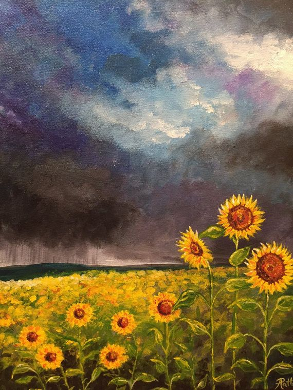 Sunflower Painting Flower Art Storm Painting Original
