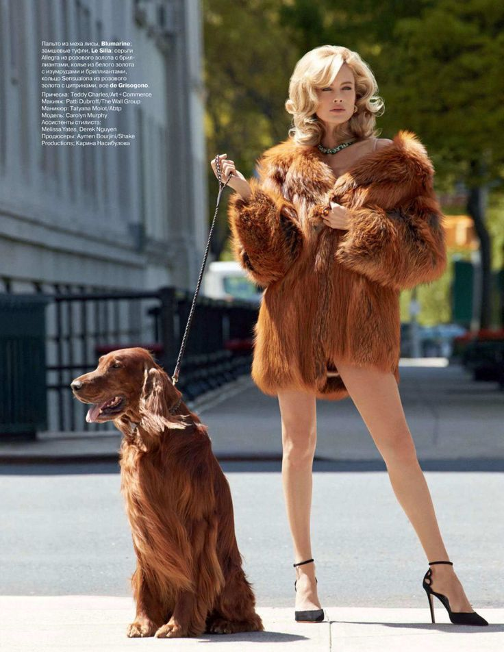 The Second-Most Russian You can safely bet she got this dog to match her coat. Photo: Tatler Russia, Patrick Demarchelier