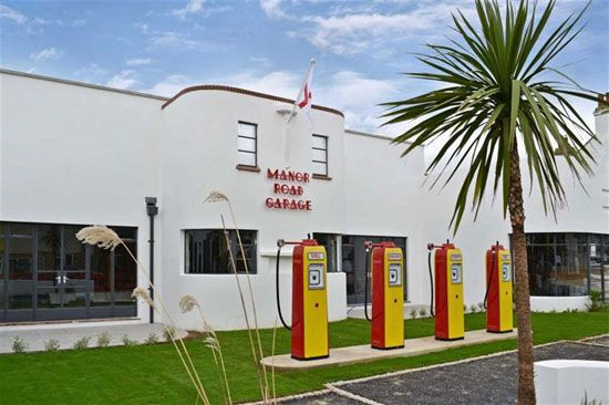New apartments in a formally 1930s art deco petrol/gas station, West Sussex