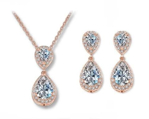 Rose Gold Teardrop Crystal Jewellery Set, Jodie