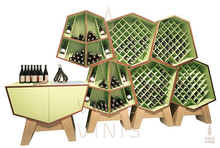 Sistema de rack Hator, da Volo Vinis. Design contemporâneo de luxo exclusivo para vinhos disponível em www.volovinis.com