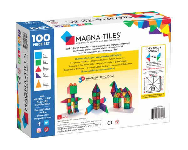 Magna Tiles Clear Colors 100 Piece Magnetic Blocks Set Magna Tiles In 2020 Magna Tiles Magnetic Building Tiles Nostalgic Toys