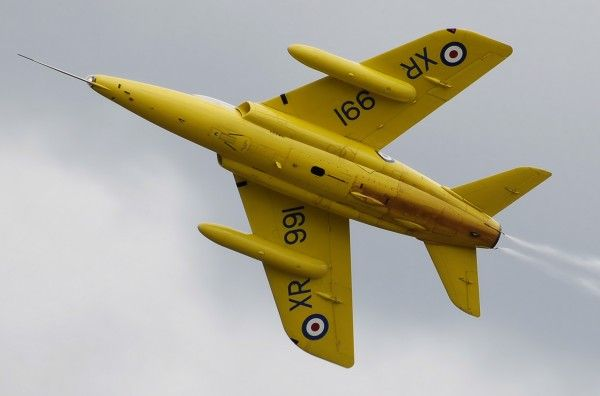 Folland Gnat T-1 restored in the colours of Yellow Jacks RAF display team.