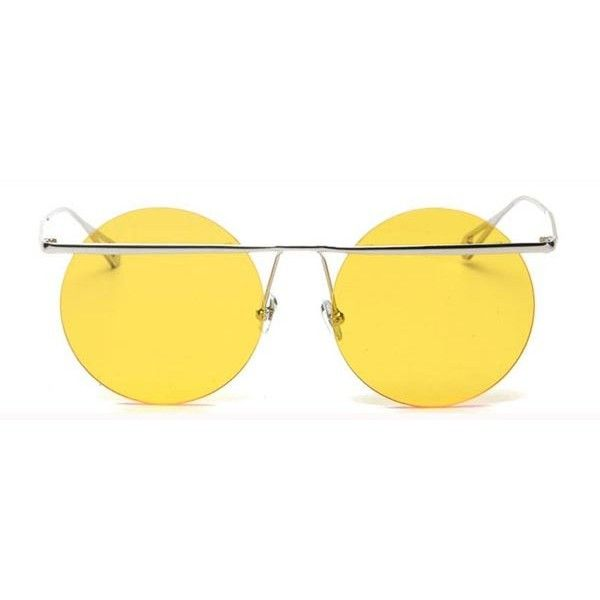 LMNT S31117 C39 Sunglasses ($53) ❤ liked on Polyvore featuring accessories, eyewear, sunglasses, silver, lmnt, lens glasses, yellow lens sunglasses, yellow glasses and yellow sunglasses