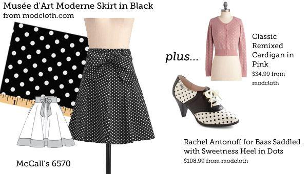(via Make This Look: Musée d'Art Moderne Skirt in Black | The Sew Weekly - Sewing  Vintage Lifestyle)