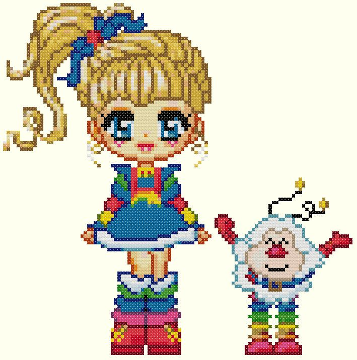 Rainbow Brite and Twink Cross Stitch by KeenahsCrossStitch on Etsy