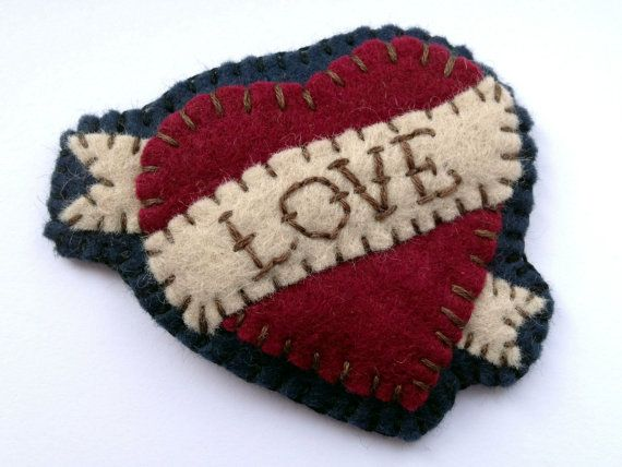 Tattoo Heart Felt Brooch - Love Hate Custom. Hand Stitched, Handmade. badge keychain keyring decoration via Etsy