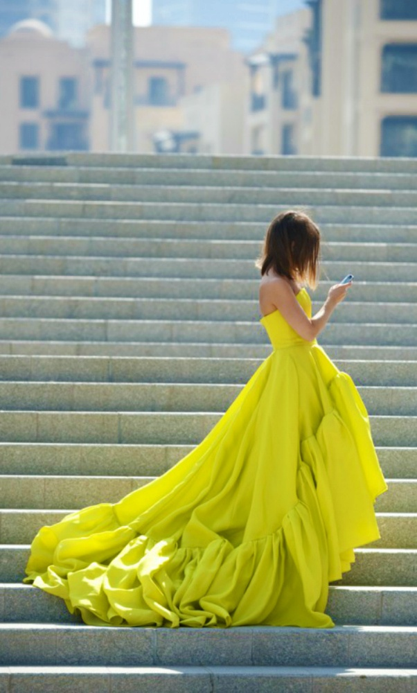 I'm kind of obsessed with this colour! Chartreuse #Designer #Dresses