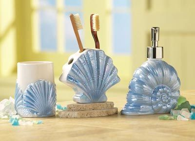Seashell Bathroom Decor | Seashell Ceramic Nautical Bathroom Accessory Set from Collections Etc.
