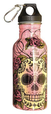 Karma Gifts Stainless Steel Sugar Skull Water Bottle, Pink