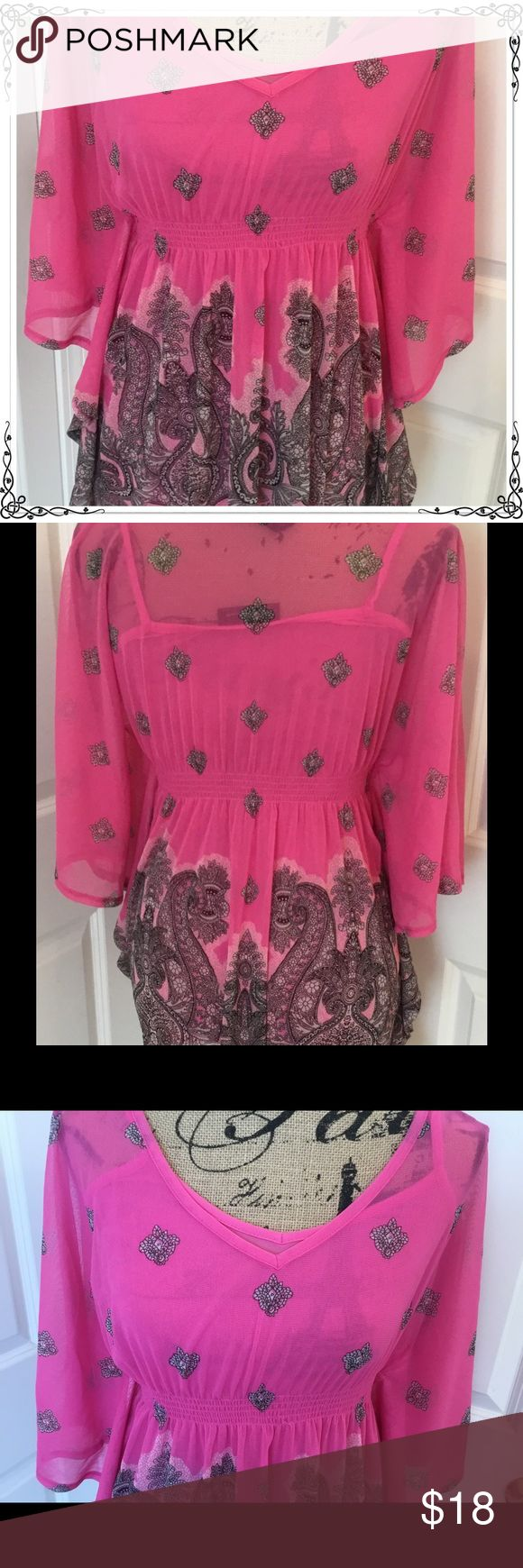 INC International Concepts Pink Batwing Top Small This is a beautiful batwing top from INC International Concepts.  Size small.  100% nylon.  Built in camisole.  This might have been worn once, if at all. INC International Concepts Tops