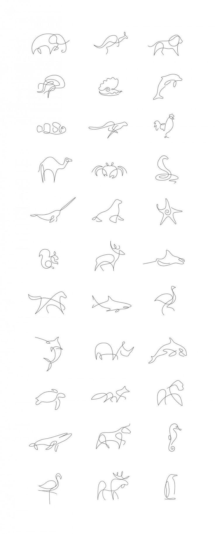 Рисунки животных всего одной линией