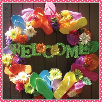 Flip Flop Wreath for Summer - use Dollar Store supplies to make this fun, inexpensive wreath