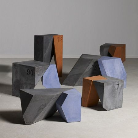 Vendôme consists of a series of cast concrete objects, the forms of which were generated by a software programme and then selected and tweaked by designers Kram/Weisshaar.