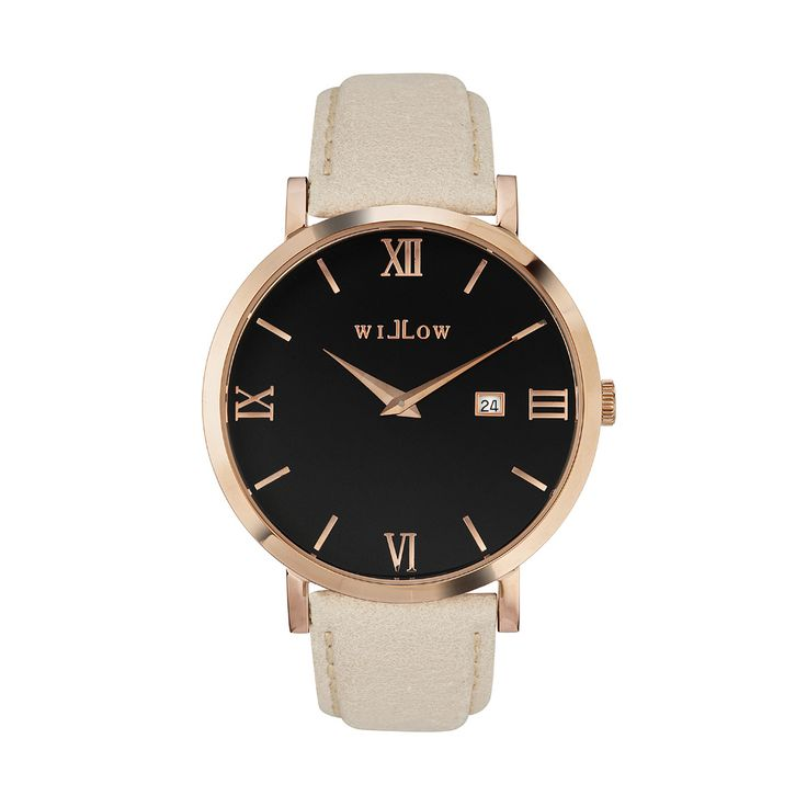 Roma Rose Gold Watch & Interchangeable Beige Leather Strap.